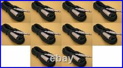 10 Pack 10FT XLR 3Pin MALE to 1/4 MONO Plug Mic Microphone Audio Cable 10 Ft