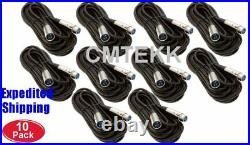 10 Pack 25Ft 3Pin XLR Male-Female Microphone Mic Audio Shielded Balanced Cable
