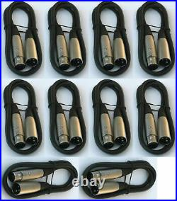 10 lot pack 10'ft xlr male to female 3 pin MIC Shielded Cable microphone audio
