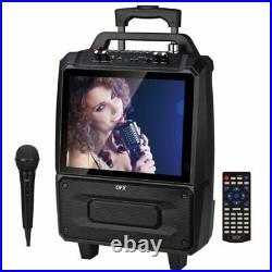 2 x 5-Inch Portable Karaoke Speaker System with 14-Inch LCD Screen wireless mic