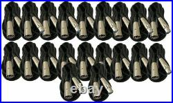 20 Lot Pack 6Ft XLR 3Pin Male to Female Mic Audio Microphone Shielded Cable 6 Ft
