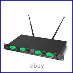 4 Channel UHF Wireless Microphones System Karaoke Audio 4 handheld Metal Mic