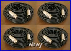 4 NEW Pack 50FT XLR 3Pin Male to Female Mic Microphone Audio Cord Shielded Cable