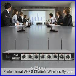8 Channel Wireless Microphone System Portable VHF Cordless Audio Mic Set