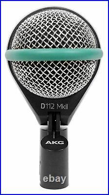 AKG D112 MKII Kick Drum Bass Guitar Microphone+Audio Technica Headphones+Stand