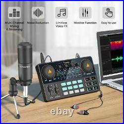 All-in-on Microphone Mixer Kit Sound Card Audio Podcaster With Condenser Phones