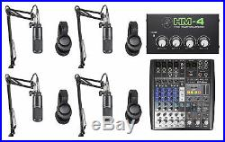 Audio Technica 4-Person Podcast Podcasting Kit withMixer+Mics+Headphones+Booms