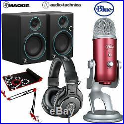 Audio-Technica ATH-M30x Headphones + Blue Yeti USB Mic Red+Mackie CR3 PRO Bundle