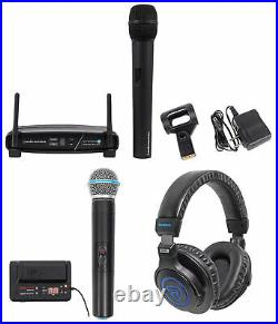 Audio Technica ATW-1102 System 10 Wireless Handheld Microphone+Mic+Headphones