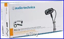 Audio Technica PRO 35 Condenser Clip-On Instrument Microphone Mic + Headphones