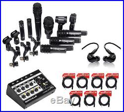Audio Technica Pro Drum Microphone Kit w 7 Mics+In-Ear Monitors+8-Channel Mixer