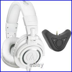 Audio-Technica Professional Studio Headphones White + Bluetooth Adapter