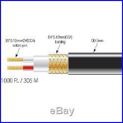 Blastking Bulk 7mm Microphone Mic Audio Cable Reel Roll 1000 Ft. Black