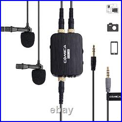 Comica CVM-D03 Dual Lavalier Lapel Microphone with Mono/Stereo Sound, Volume mic