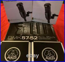 DRUM MICS LOT Shure DMK57-52 Drum Mic Kit AKG PERCEPTION 220 AUDIO TECHNICA