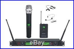 GTD Audio 2x100 Ch UHF Headset Lavalier Wireless Microphone Mic System 733HL