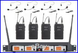 GTD Audio 4 Ch UHF Lavalier lapel headset Wireless Microphone System Mic 504L