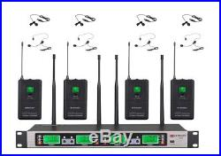 GTD Audio 4x100 Ch UHF Wireless Lapel lalavlier Microphone Mic System