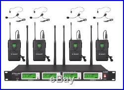 GTD Audio 4x800 Ch UHF Diversity Wireless Lavaler Lapel Headset Microphone Mic L