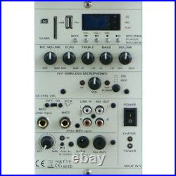Ibiza Sound White Portable Battery Powered Bluetooth PA System 700W Wireless Mic