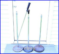 Lot of 3 Vintage Atlas Sound Boom Mic Stands 1 Telescoping Base Parts AS-IS