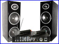 Ltc Bluetooth Karaoke Dj Party Set Sound System Pa 2 X Wireless Mics Usb