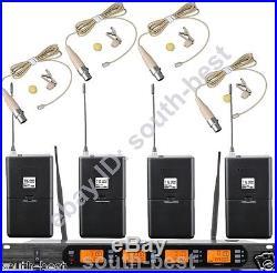 MICWL Audio UHF Wireless Microphone System 4 Beige Lavalier Lapel Mic 400Channel