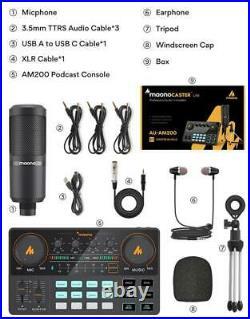 Microphone Mixer Kit Sound Card Audio Podcaster Condenser Studio Mic Earphone