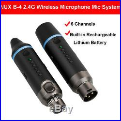 NUX- b-4 XLR Audio 6 Channel Wireless Microphone Mic System Transmitter Receiver