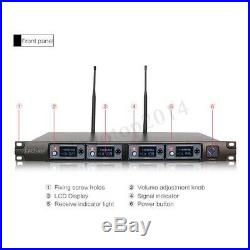 Pro UHF 4CH Wireless LCD Microphone Audio Receiver System 4 Handheld KTV Mic Lot