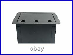 Recessed Stage Audio Floor Box with 10 XLR Mic Female Connectors + AC Outlet