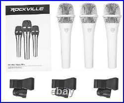 Rockville (3) White Microphones Mics+Case+Stands+Cables For Church Sound Systems