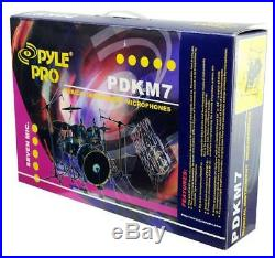 Sound Around Pyle Pro 7-Piece Wired Dynamic Drum Mic Kit Kick Bass, Tom/Snare