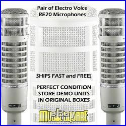 TWO Electro-Voice RE20 Broadcast Mics EV RE-20 PAIR MEGA DEAL-GREAT STUDIO SOUND