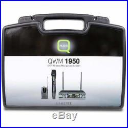 Twin Handheld UHF Wireless Radio Microphone System inc Case Q-Audio QWM1950 Mic