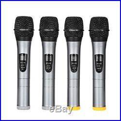 UHF 4 Channel Handheld Wireless LCD Microphone Home KTV Audio Mic Speaker System
