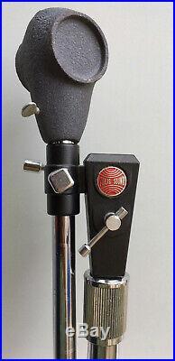 Vintage Retro Atlas Sound Mic Microphone Stand Cast Iron Base Adjustable Height