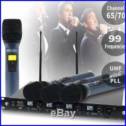 W Audio DQM 800H Quad Radio Mic Wireless System Handheld Microphone DJ Band UHF