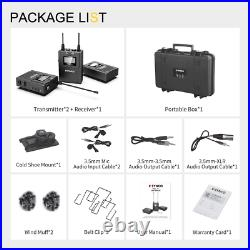 Wireless Dual Lavalier Microphone System, Audio Lapel Mic Transmitter Receiver